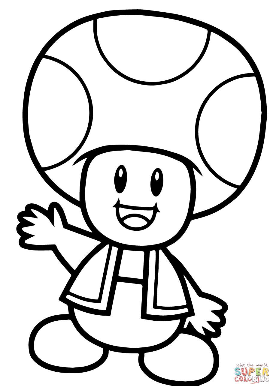 Super mario bros coloring. Toad clipart colouring page