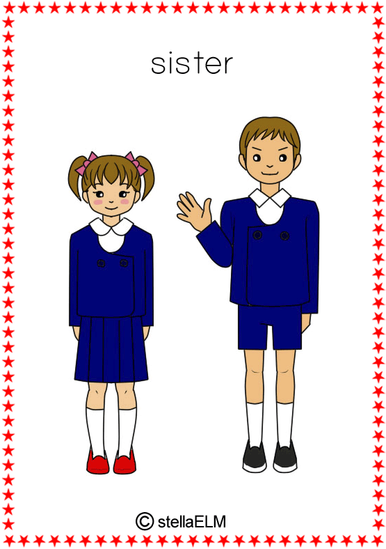 Brothers clipart cousin. Flashcards family words aunt