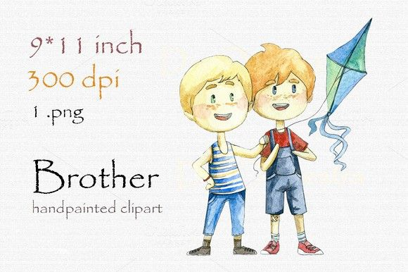 Digital printables . Brothers clipart cute