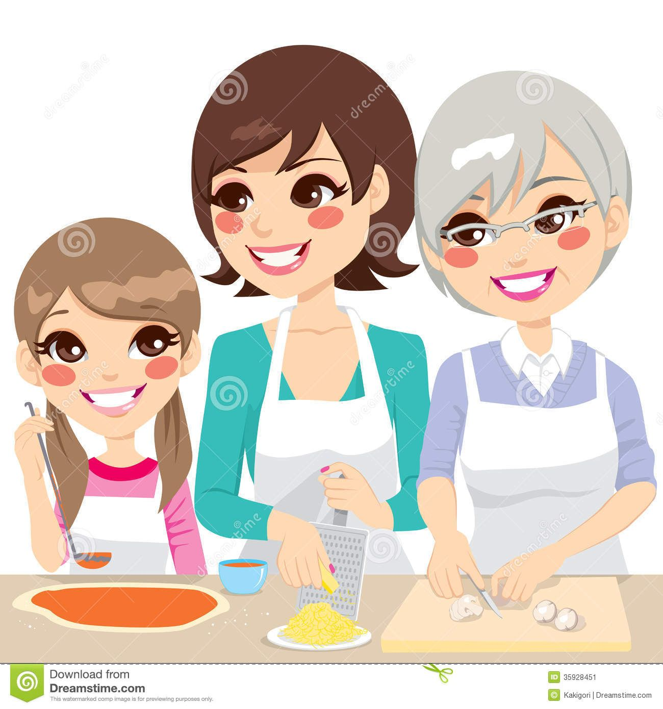 Family cooking pizza together. Brothers clipart daughter