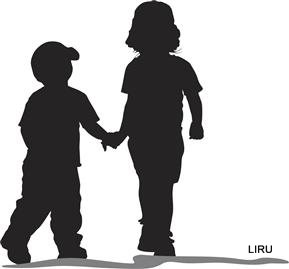 Girls holding hands at. Brothers clipart silhouette