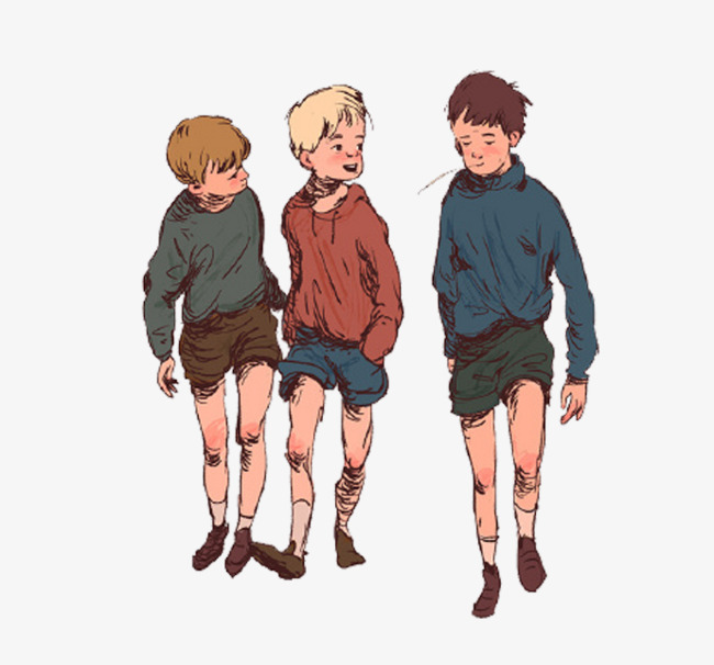 Brothers clipart standing. Cartoon three boys boy
