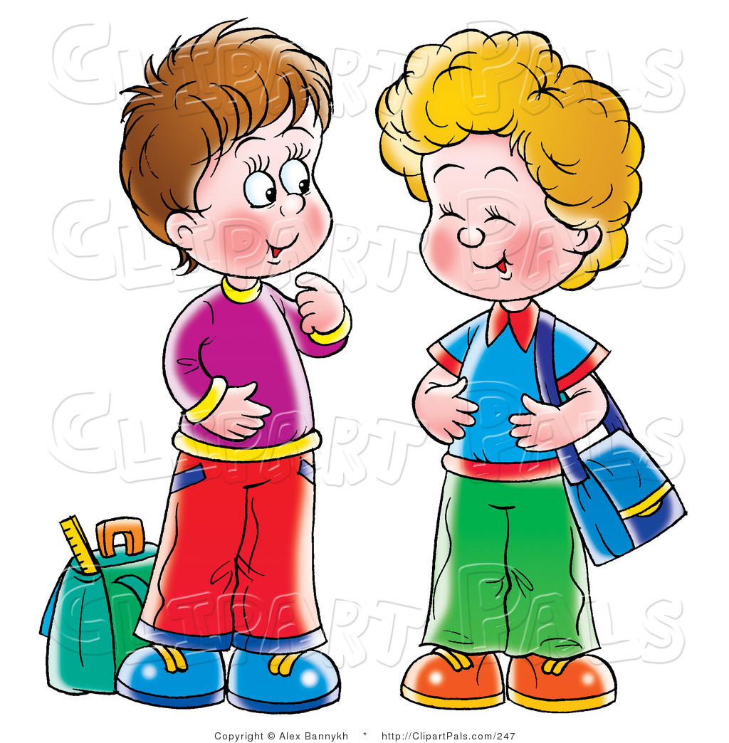Brothers clipart student. Two students talking