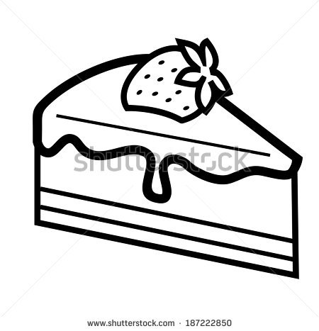 Cake slice station . Brownie clipart black and white