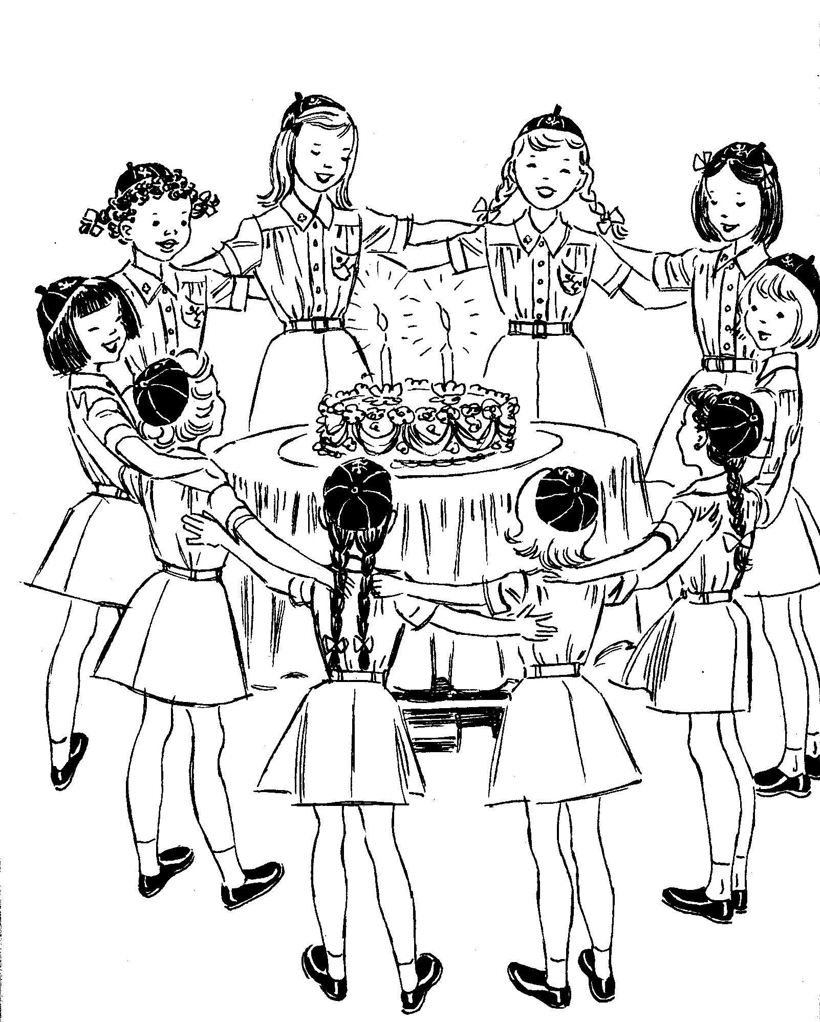 Brownie clipart easy. Vintage girl scout celebration