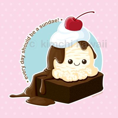 Sundae by kimchikawaii on. Brownie clipart kawaii