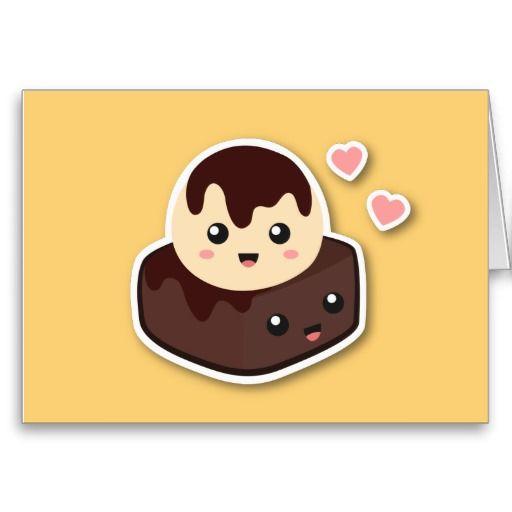 Cartoon of vanilla ice. Brownie clipart kawaii