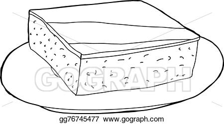 Vector illustration outline of. Brownie clipart plate brownie