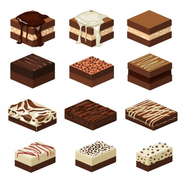 Small cakes free vector. Brownie clipart square chocolate