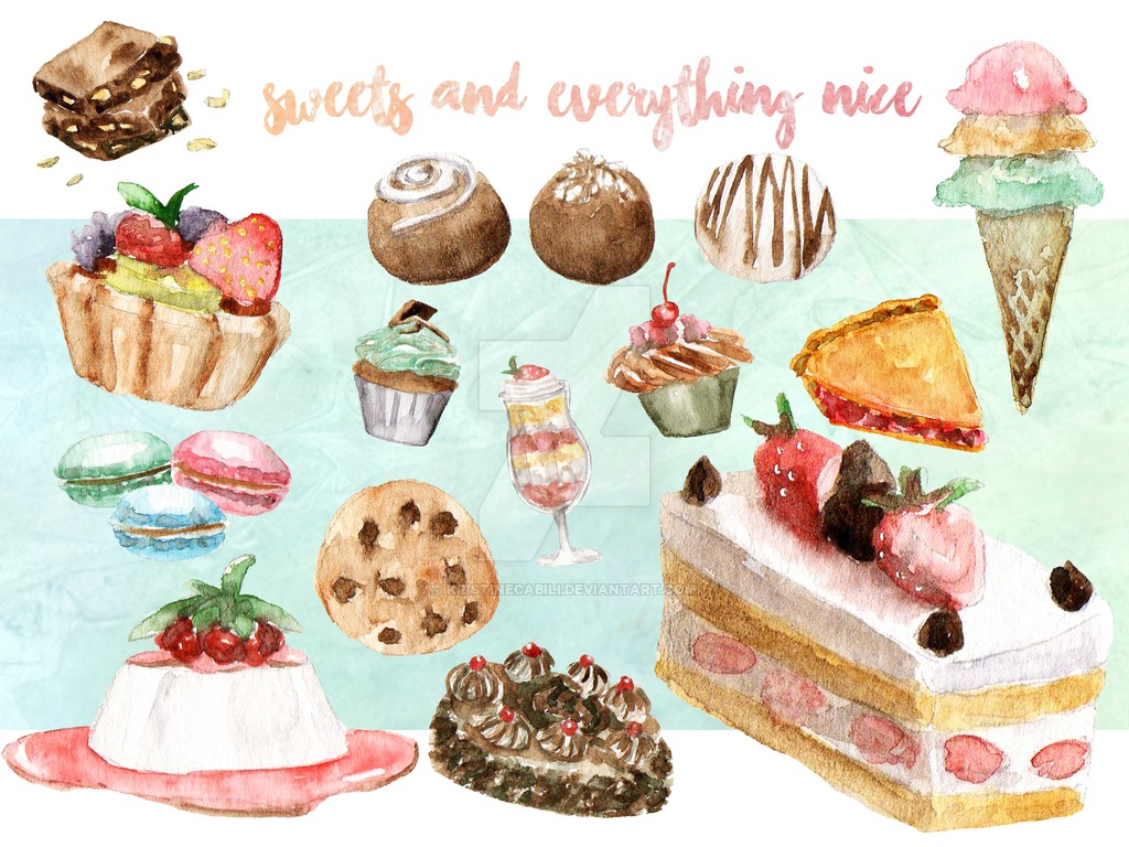Sweets clip art by. Brownie clipart watercolor