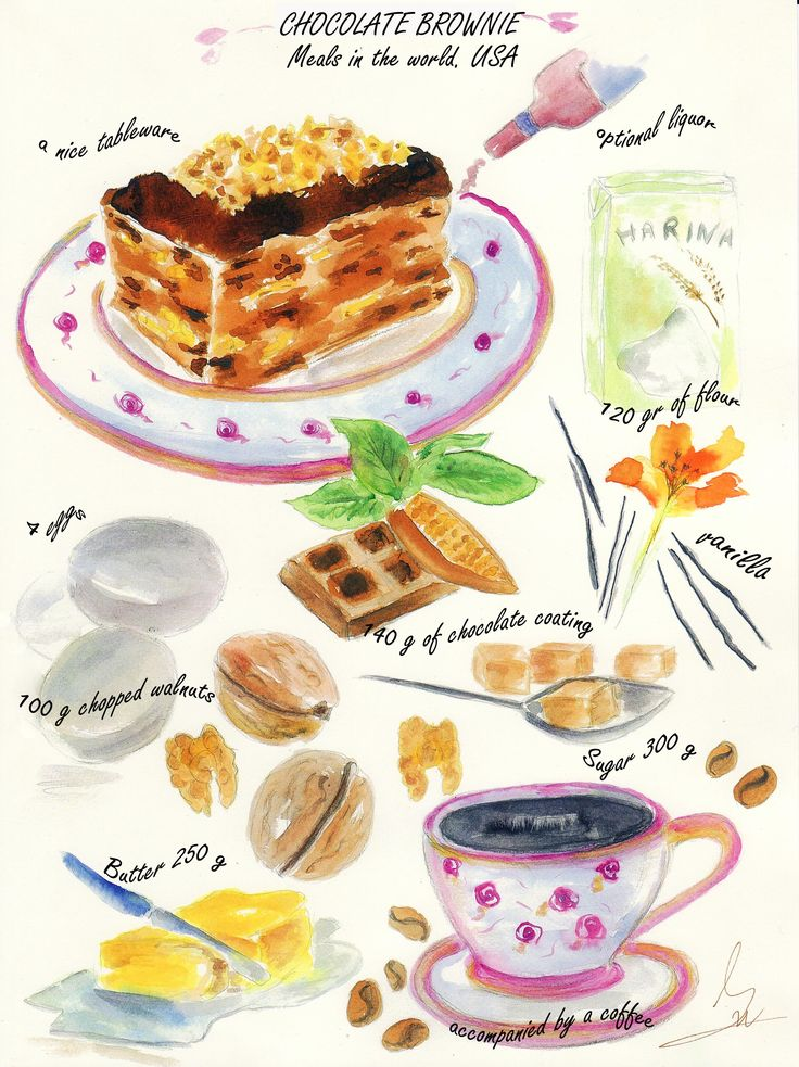 best cookbook images. Brownie clipart watercolor