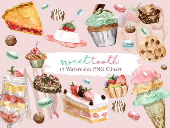 Brownie clipart watercolor. Sweets dessert cupcake cake