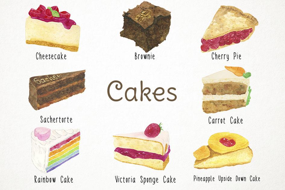 Cake celebration ca design. Brownie clipart watercolor