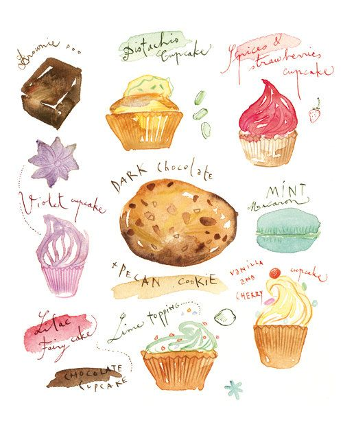 Brownie clipart watercolor. Cupcakes cookie macaroon and
