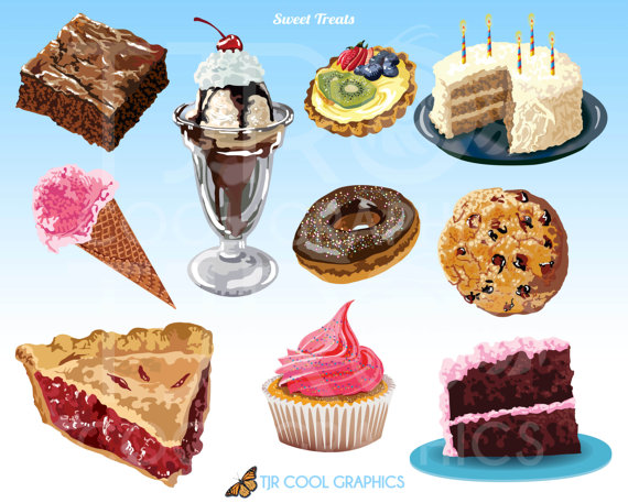 Sweet treats digital realistic. Brownies clipart cookie brownie