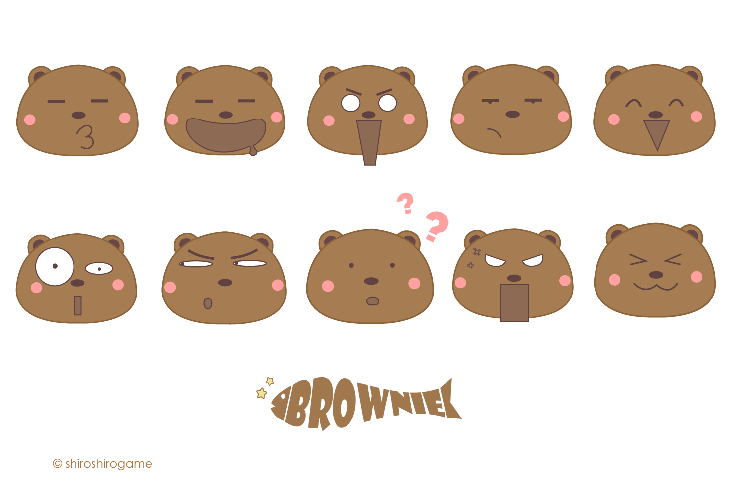 Brownies clipart face. Cheerful brownie vector expressions