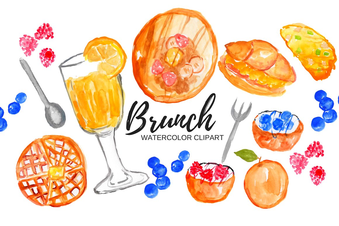 Watercolor food illustrations creative. Brunch clipart
