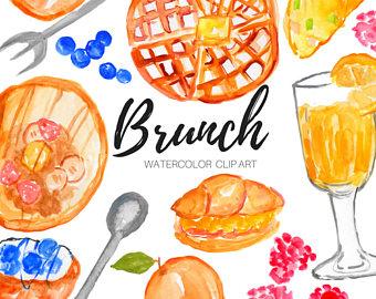 Brunch clipart. Watercolor clip art etsy