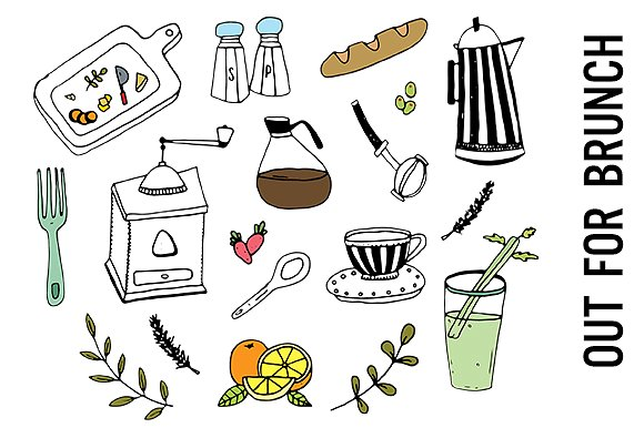 Brunch clipart. Food doodle illustrations creative