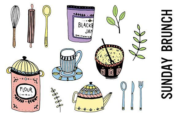 Brunch clipart. Cooking doodles and online
