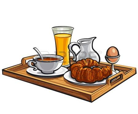 Brunch clipart bed. Free breakfast is served