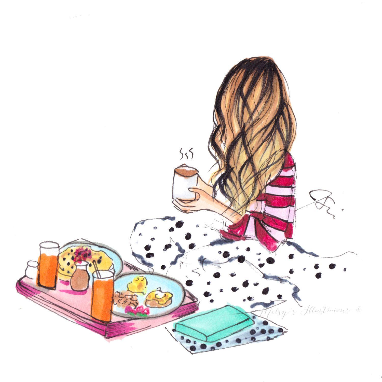 Breakfast in kawaii art. Brunch clipart bed