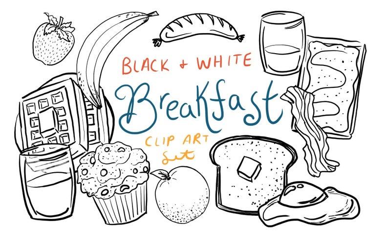 Breakfast clip art hand. Brunch clipart black and white