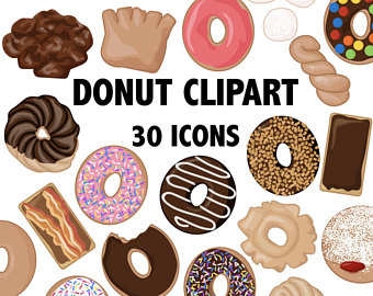 Clip art donut icons. Brunch clipart breakfast food