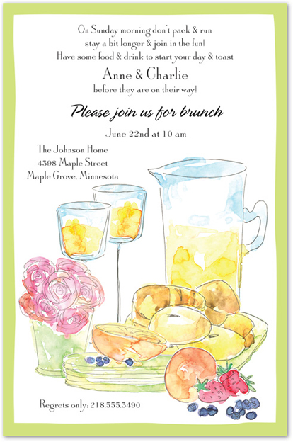 Day after watercolor invitations. Brunch clipart brunch word