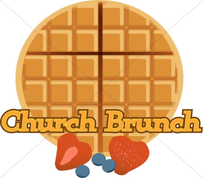 Brunch clipart church. Of waffles and fruit