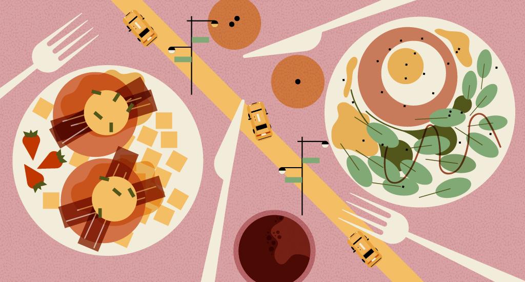 spots in midtown. Brunch clipart food service