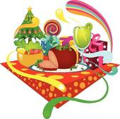 Pencil and in color. Feast clipart holiday feast