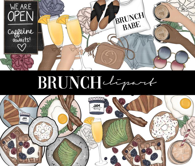 Brunch clipart lunch. Digital clip art fashion