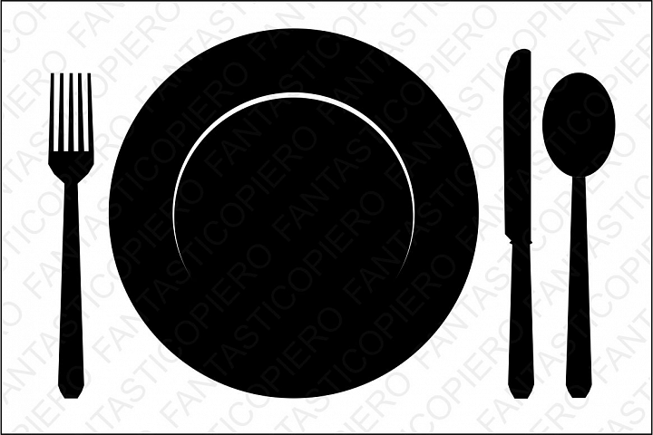 Brunch clipart silhouette. Plate fork knife and