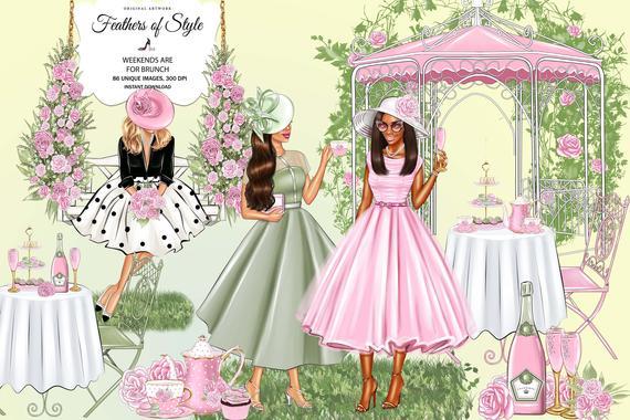 Spring party garden sunday. Brunch clipart tea time