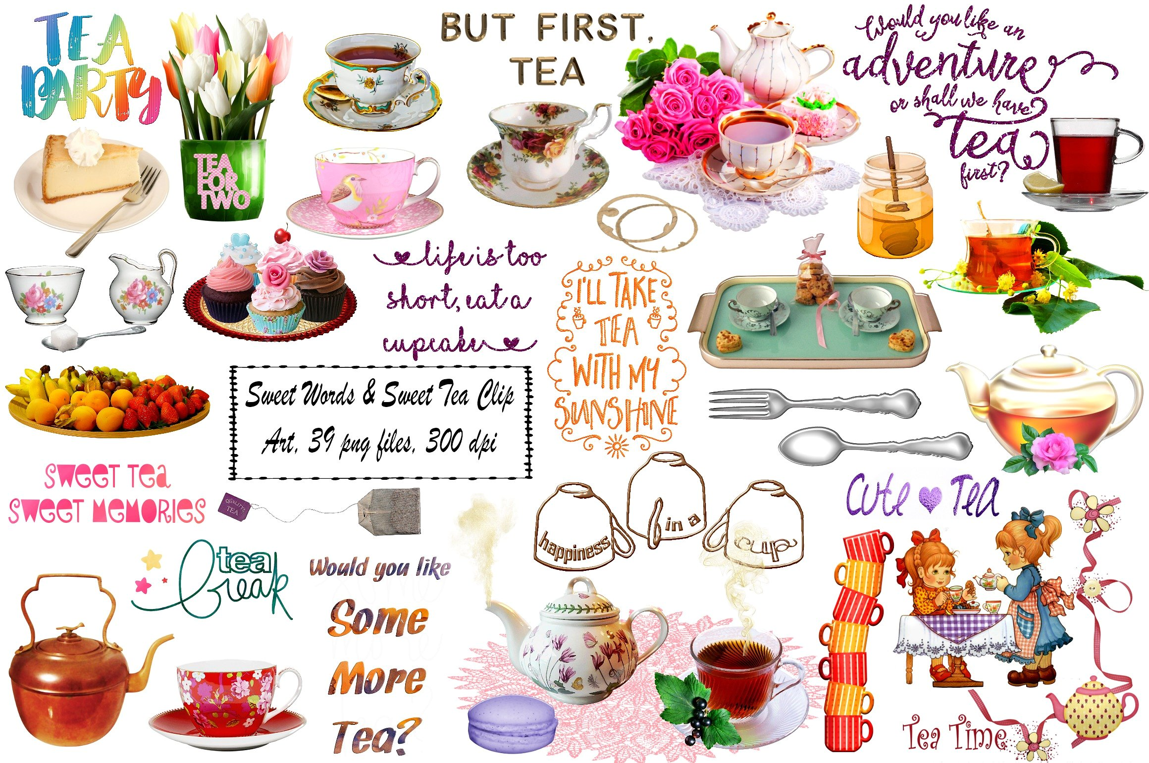 Brunch clipart tea time. Sweet words illustrations creative