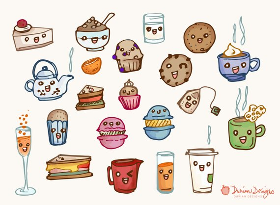 Food commercial use macarons. Brunch clipart tea time