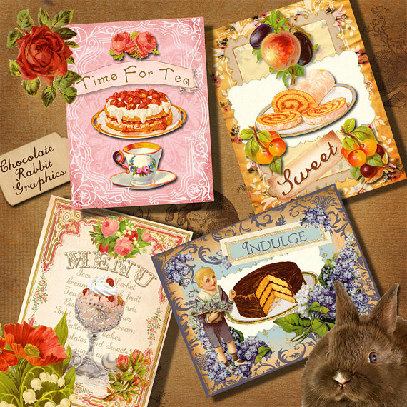 Printable greeting cards tea. Brunch clipart victorian