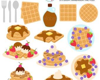 Art etsy waffles set. Brunch clipart waffle
