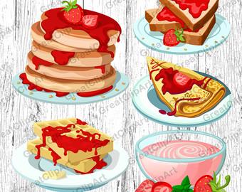 Brunch clipart waffle. Breakfast clip art etsy