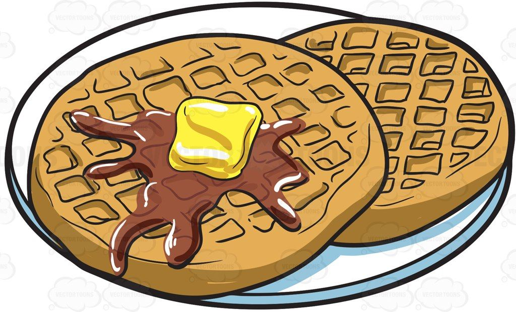 Waffles for breakfast cartoon. Waffle clipart brunch