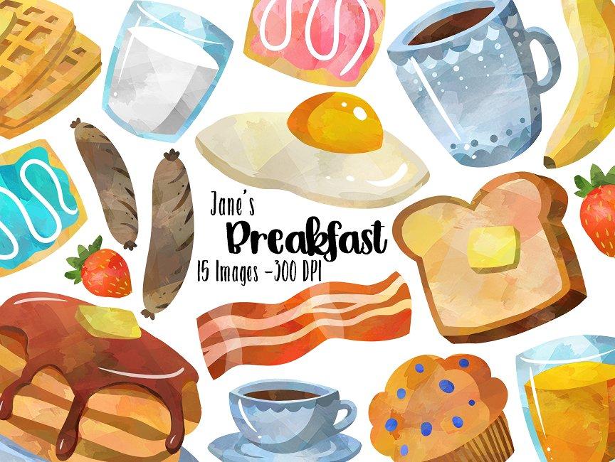 Breakfast photos graphics fonts. Brunch clipart watercolor