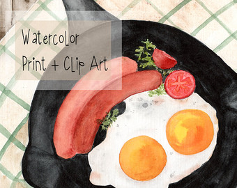 Breakfast etsy print clip. Brunch clipart watercolor