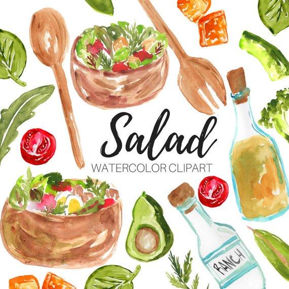 Salad food . Brunch clipart watercolor