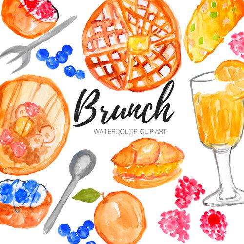 Breakfast clipart watercolor. Brunch clip art food