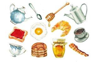 Clip art breakfast food. Brunch clipart watercolor