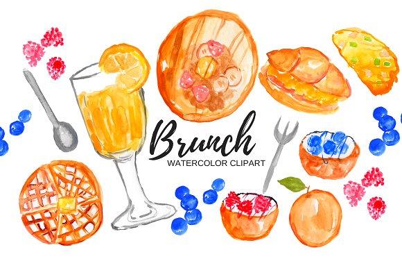 Brunch clipart wedding. Watercolor food illustrat