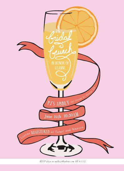 Creative bridal shower invitations. Brunch clipart wedding
