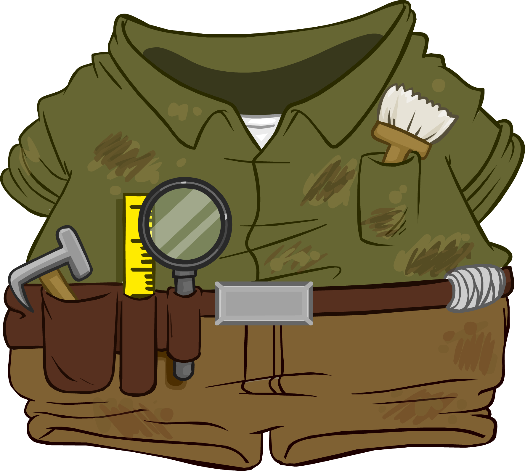 Brush clipart archaeology. Archaeologist outfit club penguin