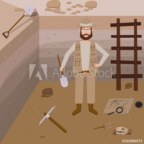 Archeology vector illustrations symbols. Brush clipart archaeology